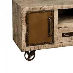 Meuble TV 2 portes bois de manguier et métal 120 Iffy