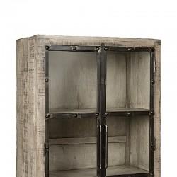 Armoire vitrine 2 portes manguier et métal 90 Iffy