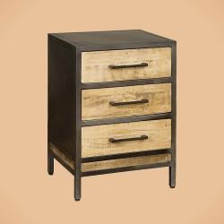 Armoire 3 tiroirs manguier et métal 50 Iffy
