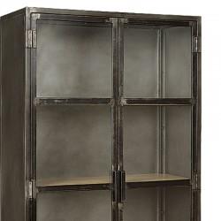 Armoire vitrine 3 étagères manguier et métal 90 Iffy