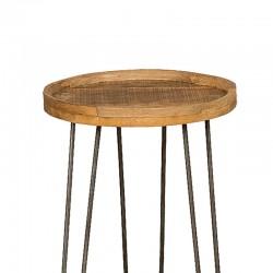 Table d'appoint en manguier et métal 40x40 Harold