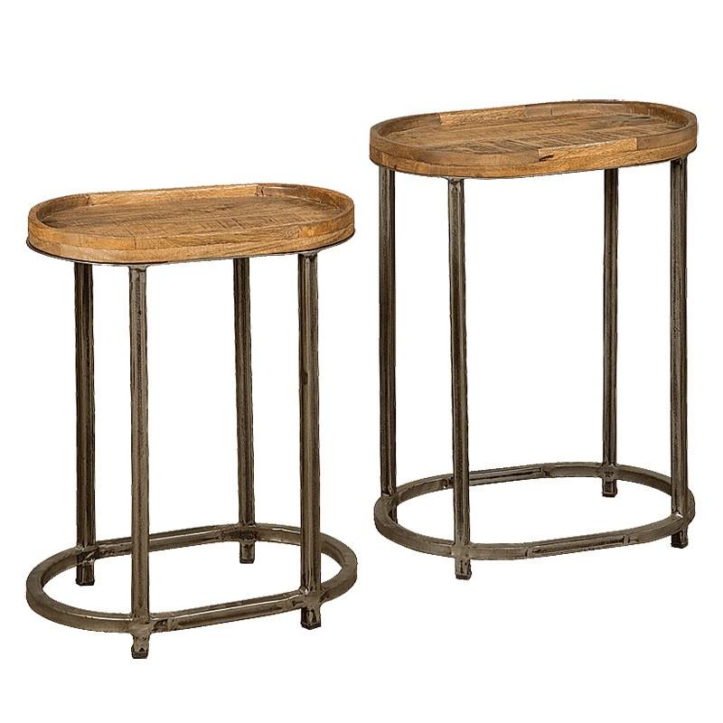 Lot 2 tables basses manguier et métal Harold