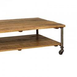 Table basse manguier et métal 125x70 Harold