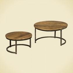 Ensemble table gigognes manguier et métal Harold