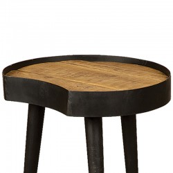 Table d'appoint manguier et métal 50x47 Harold