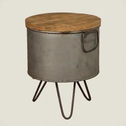 Table basse manguier et métal 32x32 Harold