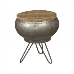 Table basse manguier et métal 35x35 Harold