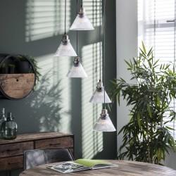 Suspension étagée 5 ampoules dans abat-jours en verre