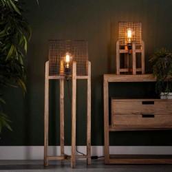 Lampadaire abat-jour grillagé sur pieds en manguier style design