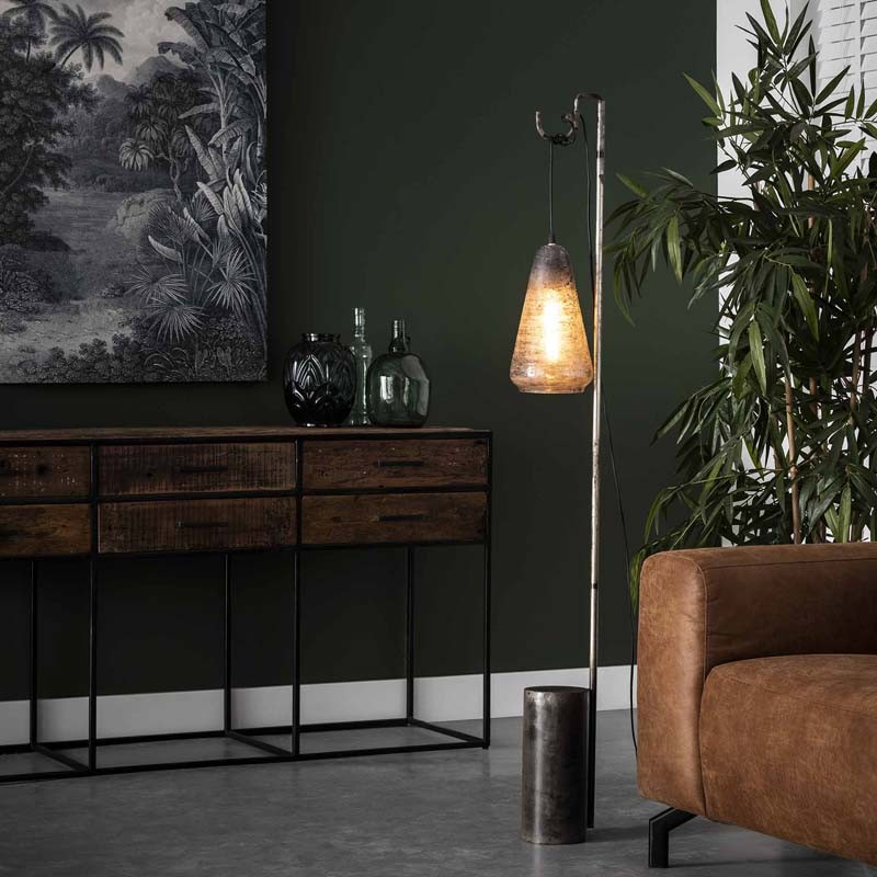 Lampadaire lampion en verra suspendu style design