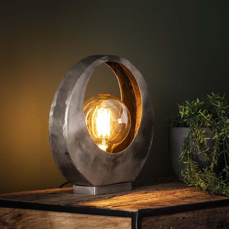 Lampe de table lune en métal style industriel