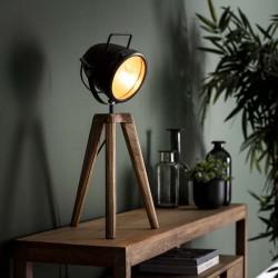Lampe de table style design 1 spot en métal sur pieds manguier
