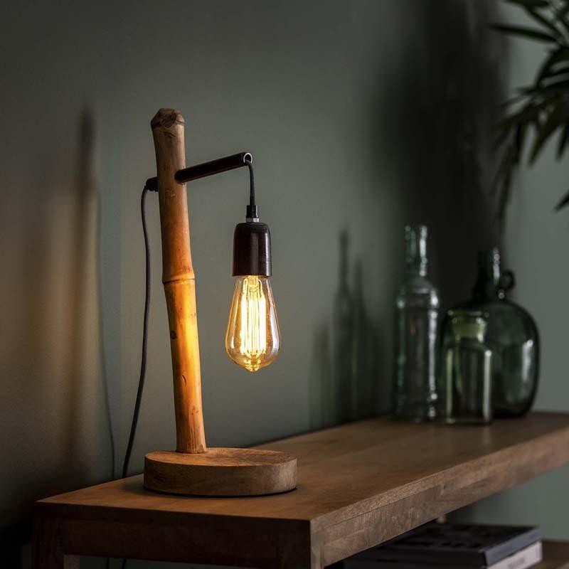 Lampe de table design en bambou 1 ampoule