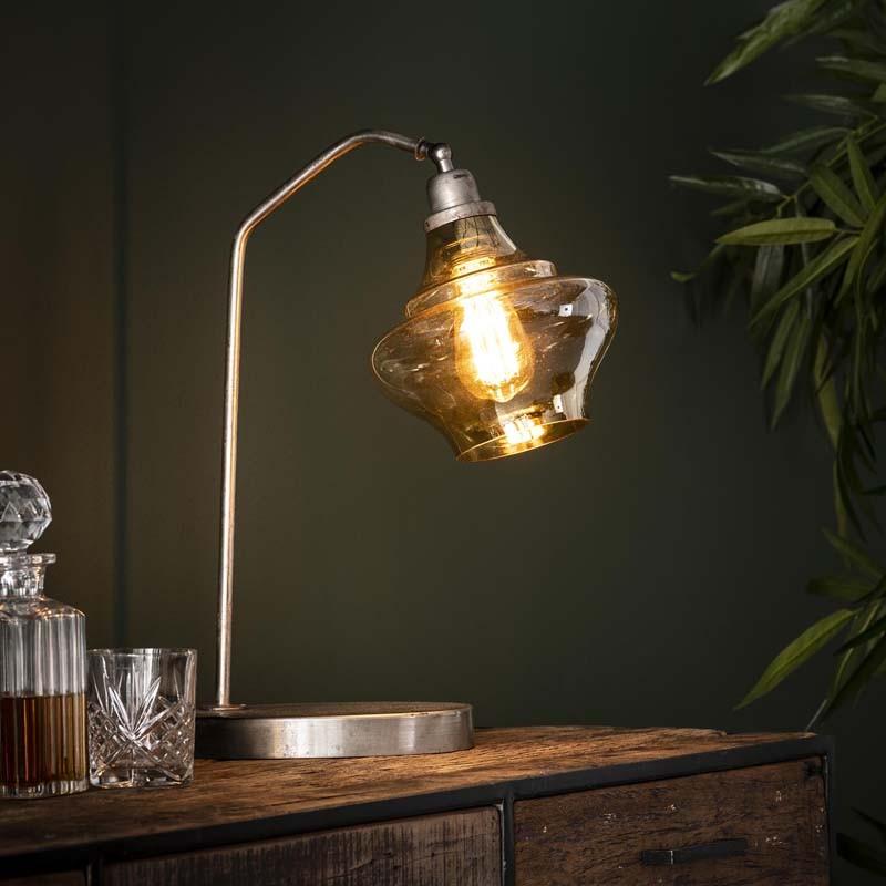 Lampe de table 1 abat-jour en verre style design et industriel