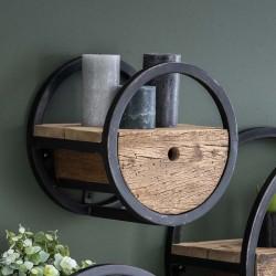 Étagère murale ronde en bois et métal Ø30