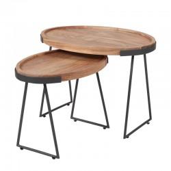 Ensemble tables basse rondes acacia et métal