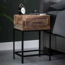 Table de chevet avec 1 tiroir en bois recyclé et métal