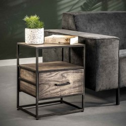 Table de chevet 2 plateaux 1 tiroir acacia et métal