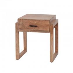 Table d'appoint 1 tiroir en manguier sablé