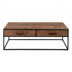 Table basse 2 tiroirs en bois et métal