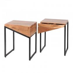 Ensemble 2 tables de chevet triangles en acacia et métal