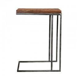 Table d'appoint en bois recyclé et métal
