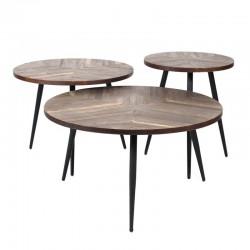 Ensemble de 3 tables basses en teck
