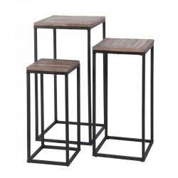 Ensemble de 3 tables basses carrées teck et métal