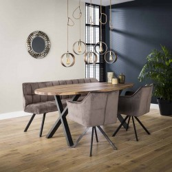 Table à manger ovale en teck et métal