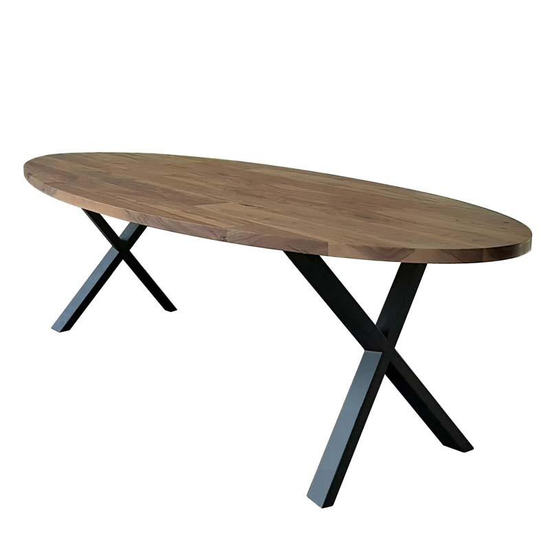 table à manger ovale en teck et métal dimension 200x105