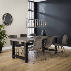 Table à manger rectangulaire en acacia et métal