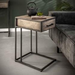 Table d'appoint 1 tiroir en acacia et métal