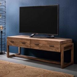 Meuble TV sur pieds carrés en manguier