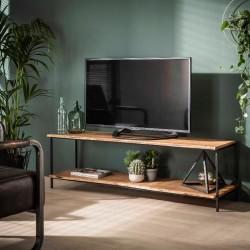 Meuble TV 2 plateaux en acacia et métal