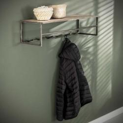 Porte manteau 7 crochets en acacia et métal