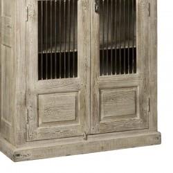 Armoire vitrine 2 portes en bois recyclé 130 Mezy