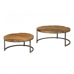 Ensemble 2 tables basses en bois Karma