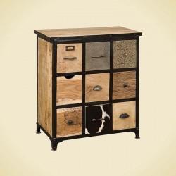 Commode en bois et métal 9 tiroirs 75 Karma