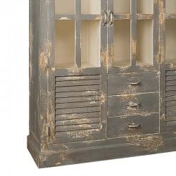 Armoire vitrine en bois 3 portes 3 tiroirs 145 Karma