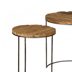 Ensemble 3 tables basses bois et métal Karma