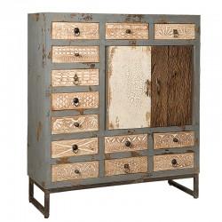Armoire bois et métal 13 tiroirs 105 Karma