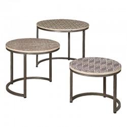 Ensemble 3 tables basses rondes en métal