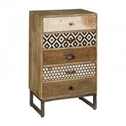 Commode bois et métal 5 tiroirs 55 karma
