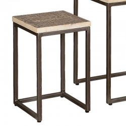 Ensemble 2 tables basses carrées bois et métal
