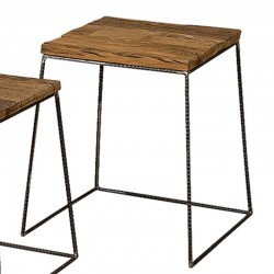 Ensemble 2 tables basses bois et métal Karma