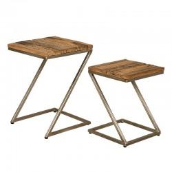 Set 2 tables basses bois et métal karma