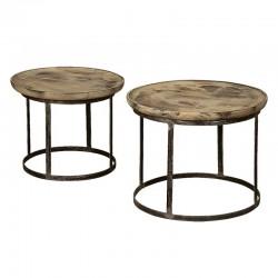 Ensemble 2 tables basses rondes bois et métal