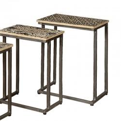Set 3 tables basses rectangulaires en bois et métal Karma