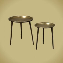 Ensemble 2 tables basses rondes métal Karma