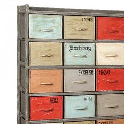 Armoire bois et métal 24 tiroirs 110 Karma